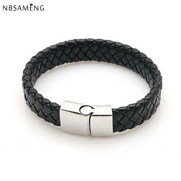 New Fashion Jewelry Black Braided Leather Bracelet Men Stainless Steel Bracelets Bangles De Couro Pulseiras Masculinos YK2057 -- Click on the image for additional details.