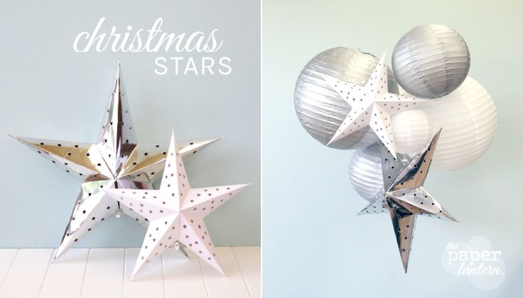 Silver & White Cardboard Hanging Stars.  We used them with our Silver & White Paper Lanterns to create a stunning Christmas Decoration! | Aqua Silver White Christmas Decorations | The Paper Lantern