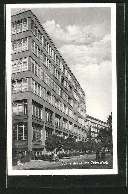 Alte Ansichtskarte: AK Jena, Schillerstraße mit Zeiss-Werk