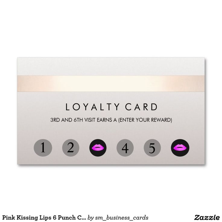 Pink Kissing Lips 6 Punch Customer Loyalty Card Double-Sided Standard Business Cards (Pack Of 100)