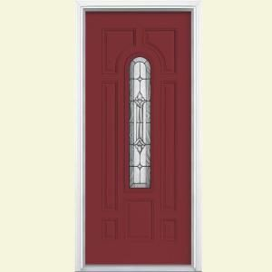 I love this door!!   Masonite Providence Center Arch Painted Steel Entry Door with Brickmold-22235 at The Home Depot