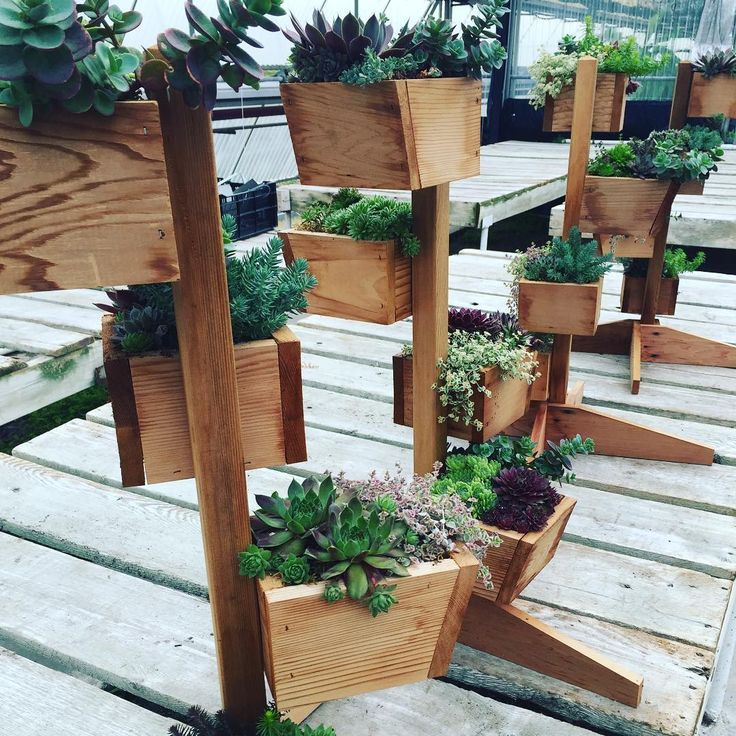 Made To Measure Bespoke Wooden Planters: Sad To See This Quartet Of Custom Made Wooden Planters