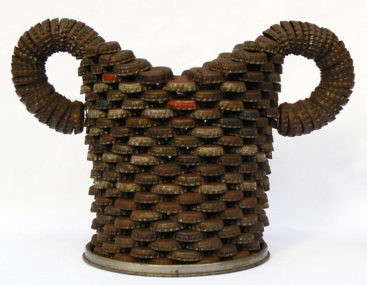 bottlecap tramp art basket