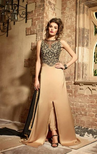 Glamorous Golden and Black Party Wear Pant Kameez Set