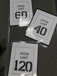 Tempo Game: Place the speed limit signs scattered around the room, seperated as far as you can. Turn on the metronome. The students listen and guess what tempo they are hearing. The students at the correct sign stay in the game. Those standing at the wrong sign sit out until there is only one person or two left and they are the winner.