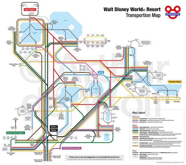 Walt Disney World Resort Transportation Map- I think Dominic would get a kick out of this!
