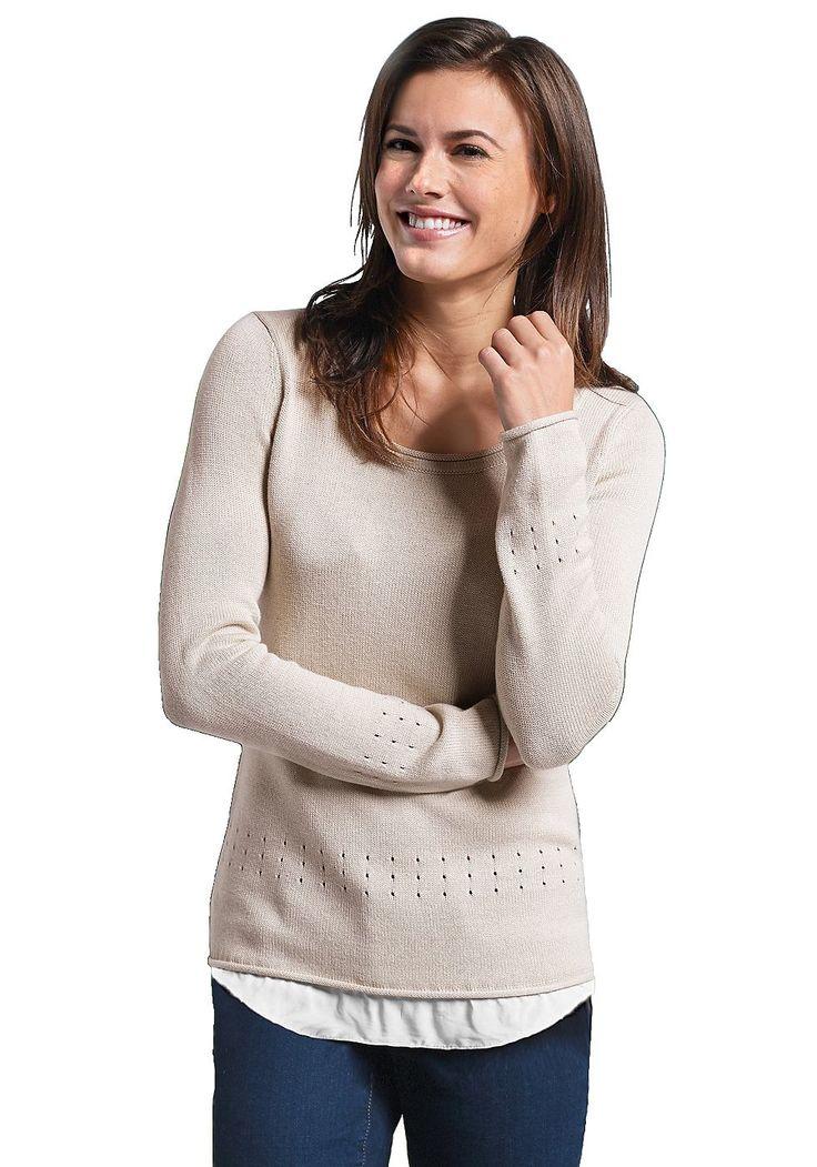 Produkttyp , 2-in-1- Pullover, |Optik , Lagenoptik, |Stil , Casual, |Ärmelstil , Langarm, |Passform , Figurumspielend, |Bündchen , Rollkanten, |Strickart , Feinstrick, |Kragen , Ohne, |Ausschnitt , Rundhals, |Gesamtlänge , Länge Gr. M ca. 67 cm., |Material , Baumwolle, |Materialzusammensetzung , 60% Baumwolle, 40% Viskose., |Pflegehinweise , Maschinenwäsche, | ...
