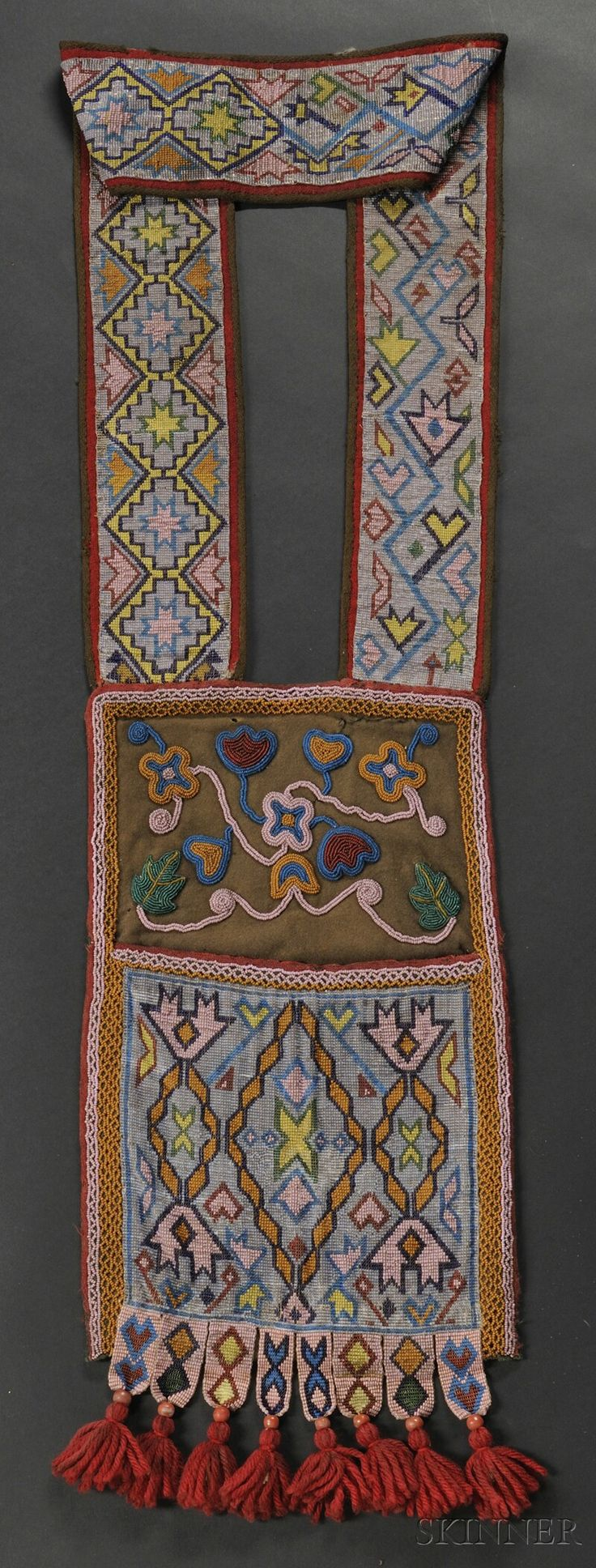 Fantastic free standing tree fort 401425 home design ideas - Chippewa Loom Beaded Cloth Bandolier Bag C 1870s Beaded With Floral Design Above