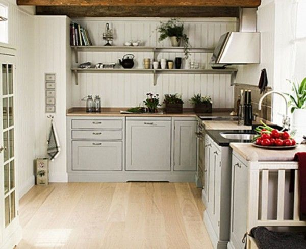 Kitchen,Vintage Scandinavian Kitchen Interior Design Ideas With L Shaped Kitchen Counter And Laminated Wooden Flooring Featuring Undermount Stainless Steel Sink And Simple Wall Mounted Shelves,Mesmerizing Scandinavian Kitchen Interior Design Ideas