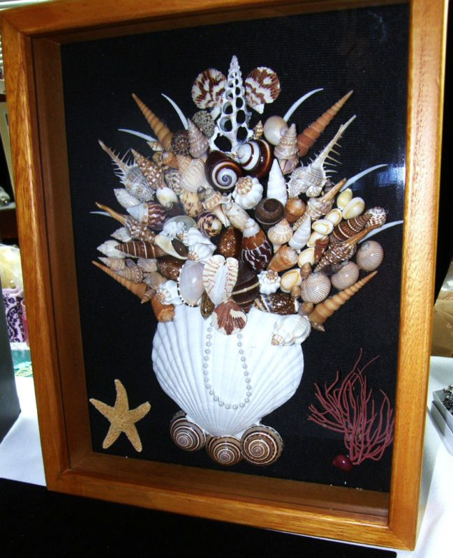 "SEASHELL SHADOW BOX BRN/WH/TAN SHELLS OAK WOOD COLOR OOAK 11"" X 14"" X 2 1/2"" 