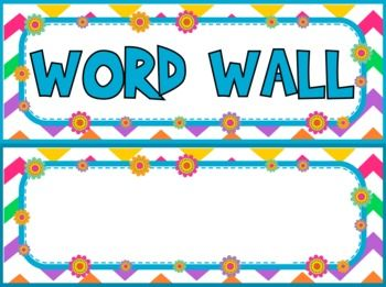 Chevron Flower Themed Word Wall Labels // Alphabet Flashcards