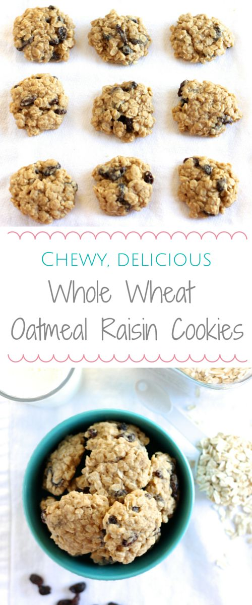 Delicious and Chewy Whole Wheat Oatmeal Raisin Cookies l www.littlechefbigappetite.com