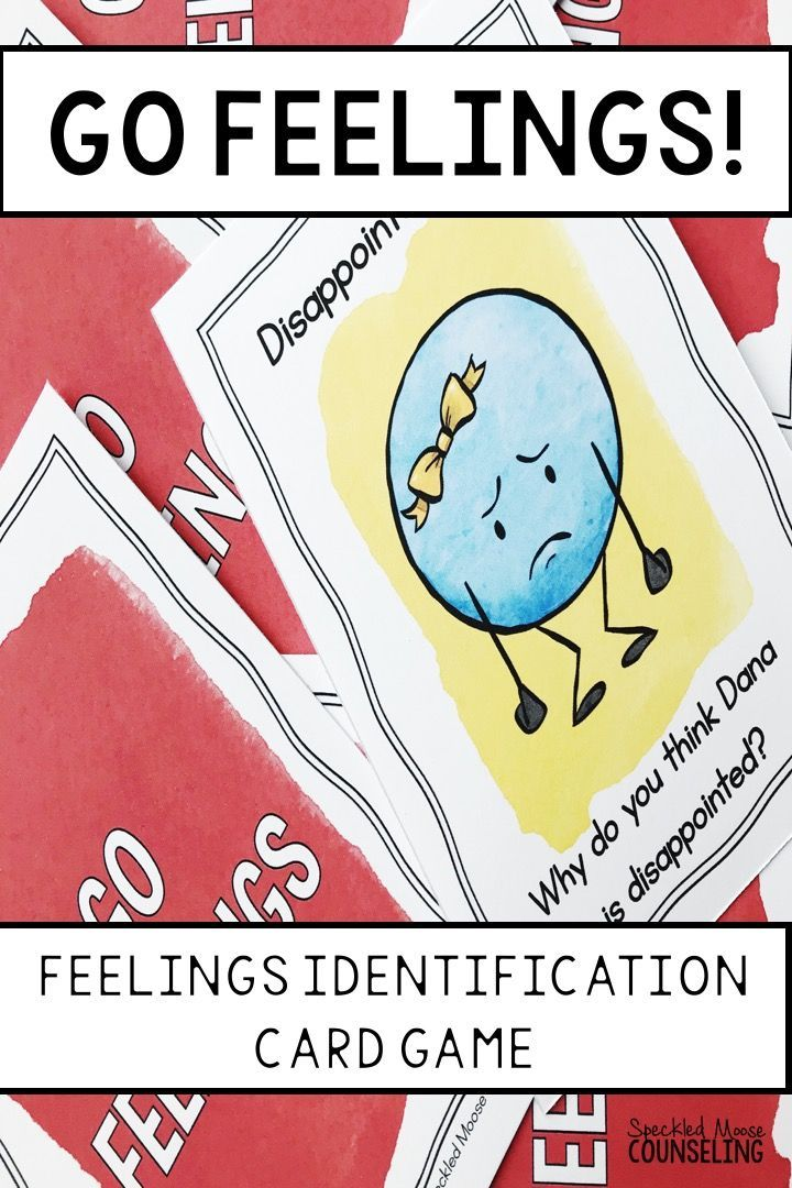 "Go Feelings counseling card game can be played like ""Go Fish"" or ""Memory."" A perfect game for school counselors or social workers, the game helps students practice feelings identification and expression with 20 different emotions. Includes instructions, 40 cards, and post-game discussion points."