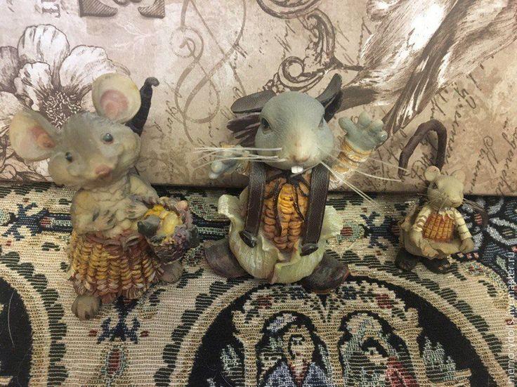 Купить Винтажная кукурузная семья мышей - желтый, мышь, статуэтка, фигурка, винтаж, семья, кукуруза