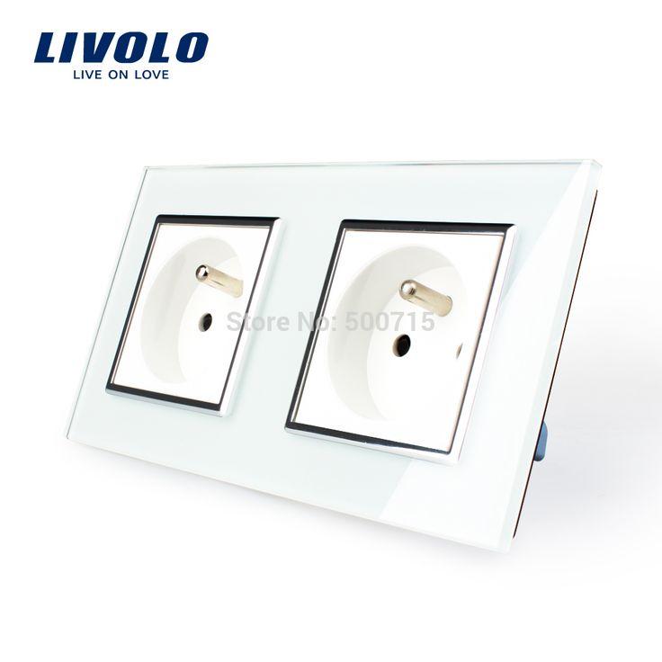 LIVOLO 16А Французский Стандарт, настенный Электрический/Мощность Двойной Разъем/Разъем хрусталь Стеклянные Панели, VL-C7C2FR-11