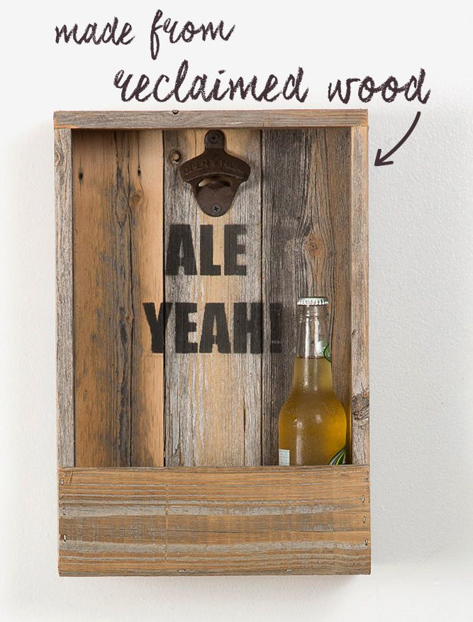 """Keep your bottles of beer on the wall with this reclaimed wood shelf, printed with the exclamation, """"Ale Yeah!"""" The bottom rack holds 3-4 beers or a big pile of bottle caps, and the top ledge can be used for empties, a small vase or pint glasses. The bottle opener's built in, and the shelf is made to hang or sit on a counter. Just add beer and enjoy."""