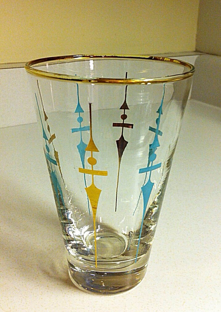Staccato - my FAVOURITE mid-century, atomic era drinking glass pattern!  I found TWO but one broke at cash!
