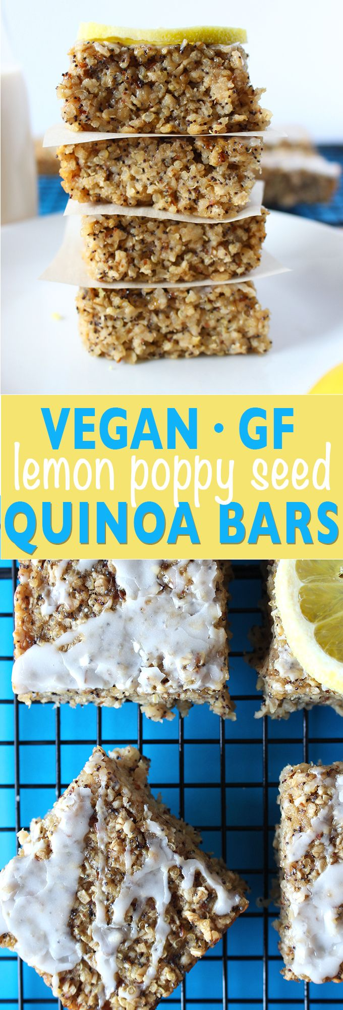 These hearty quinoa bars are a unique take on the traditional lemon poppy seed combination. They are bursting with the zing of lemon, studded with crunchy poppy seeds and filled with the protein packe