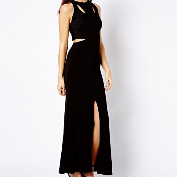 Asos River Island Long Black Dress with Cutouts Classy and timeless long black dress. A closet staple with fun modern cutouts. Perfect for any formal occasion! Worn only once, almost new! ASOS Dresses