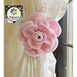 "ONE Handmade 6"" Kanzashi Baby Pink and White Felt Rose Curtain Tieback, Unique Design, Floral Nursery Holdback Home Decoration, Flower Baby Shower Gift Decor Idea, Wedding Decor"