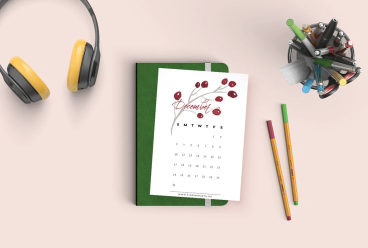 Free printable calendar for December. Easy to download and print at home