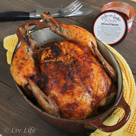 Roasted Whole Chicken with Smoked Paprika Easy peasy to get dinner on the table on those busy back to school nights!! #chicken #recipe @livlifetoo