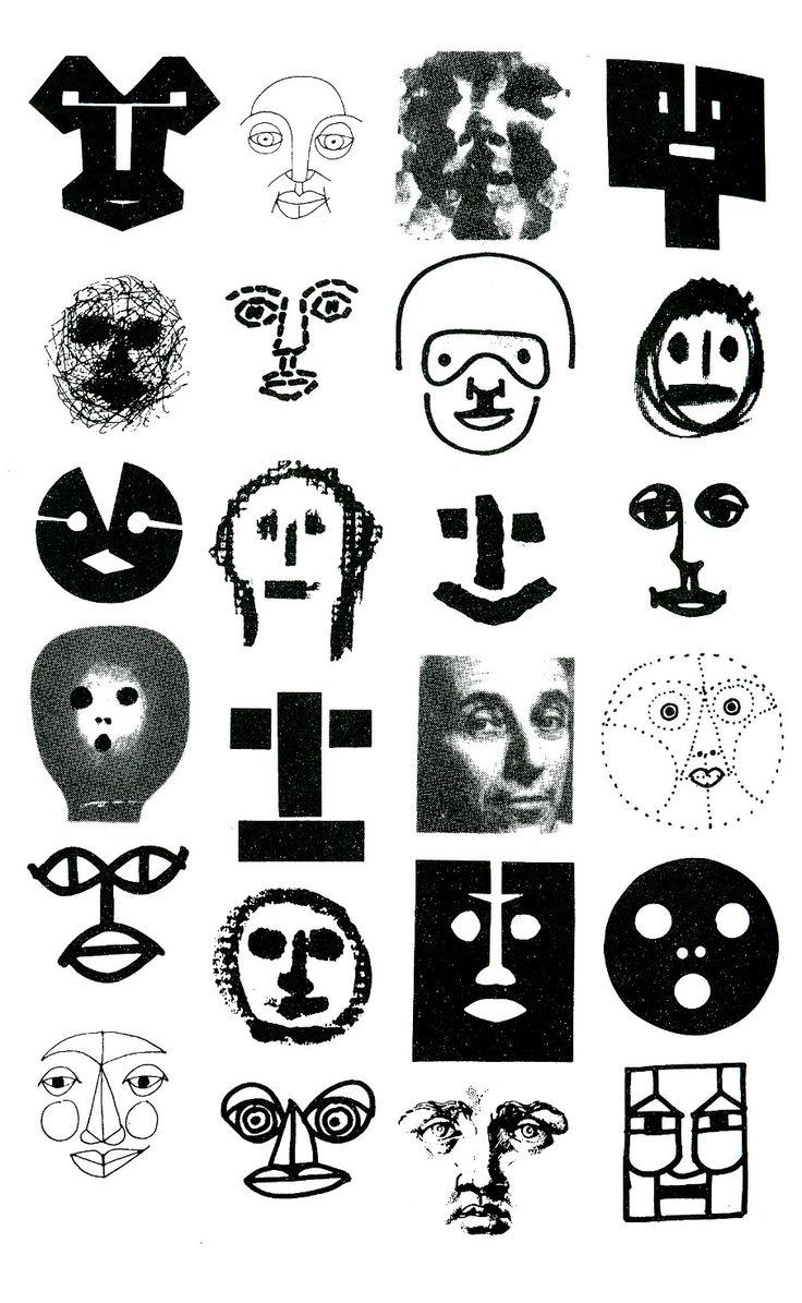 "Bruno Munari (b. 1907 - d. 1989, Italy) - Drawings from Bruno Munari's book: ""Design As Art"",(1966)  ~  Multiple identity of Faces in Tipography."