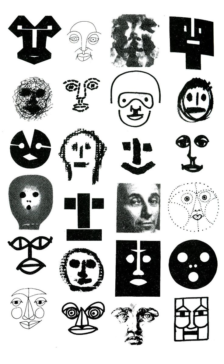 "Bruno Munari (b. 1907 - d. 1989, Italy) - Drawings from Bruno Munari's book: ""Design As Art"", (1966)  ~  Multiple identity of Faces in Tipography."