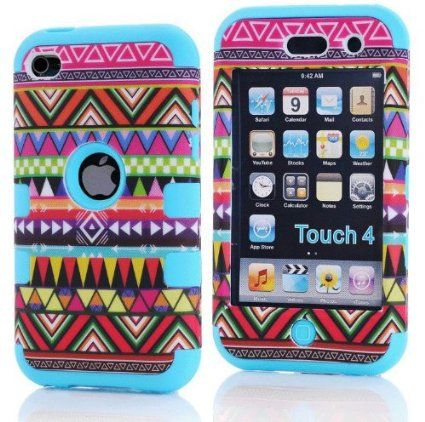 ZAFOORAH® Case Cover for Apple iPod Touch 4 4th Generation Multiple designs +Free Stylus+Screen Protector+Microfiber Cloth (Shock Proof Tribal Design - 3 Layers - LIGHT BLUE)