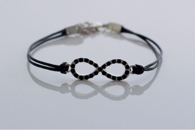 Black diamante infinity cord bracelet by Haute and Tidy on hellopretty.co.za