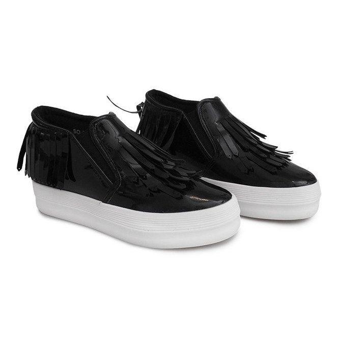 Lakierowane Trampki Na Koturnie Kb Sq 077 Czarny Czarne Sneakers Trainers Women Platform Sneakers