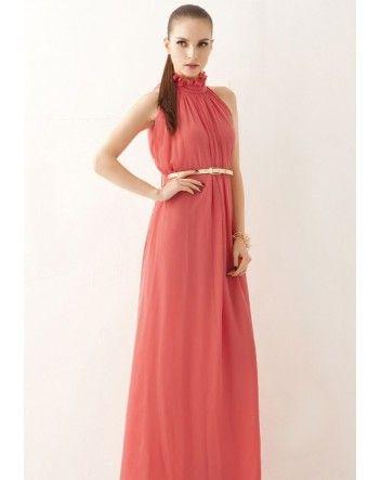 Coral Strapless Frill Neckline Belt Chiffon Maxi Dress