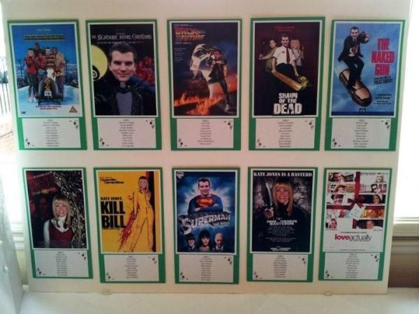Movie poster seating plan: Each table with your old movie tickets + decor in line with the theme from that movie