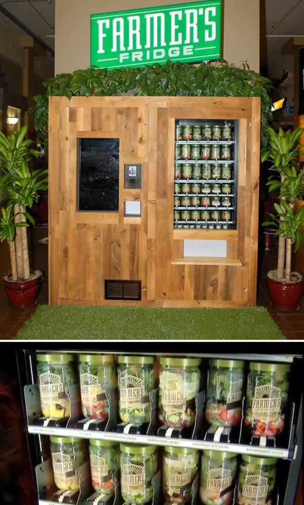 Salad Vending Machine                                 Forget junk food or candy bars – this vending machine sells only fresh salads