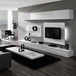 Meuble salon mural laqu blanc achat vente meubles salon muraux laqu s blan - Ensemble tv mural laque ...