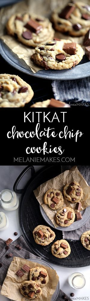 If you love Kit Kats, and you love chocolate, you'll no doubt adore these Kit Kat Chocolate Chip Cookies. With three cups total of both ingredients, the cookie dough itself is really just holding all the chocolate and candy together.