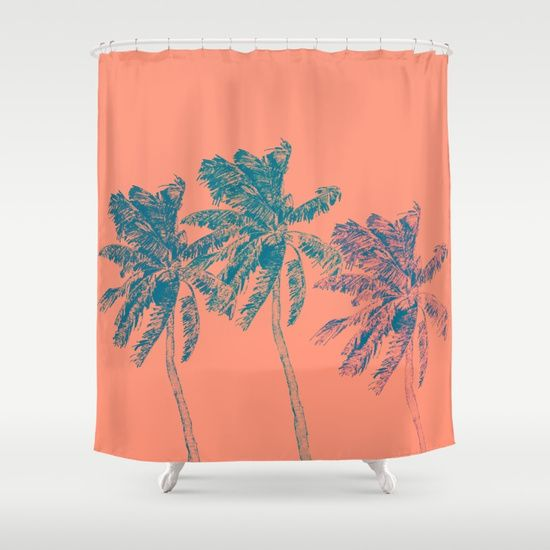 Neon Palm Trees in Coral Shower Curtain • Little Gold Pixel -- #palmtrees #palms #neon #popart #coral #orange #tropical #illustration #miami #vacationvibes #tropicalvibes #bright #showercurtain #customshowercurtain #beachhome #tropicalhome #homedecor
