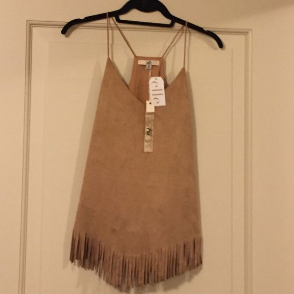 NWT Ya Suede Fringe Camel Cami Top, Medium Beautiful Ya suede fringe top, size medium NWT. It's never been worn and it's a pretty camel color. It would look great under a fur vest with skinny jeans! It is fully lined and very soft to the touch. Vneck, spaghetti straps and cut out back! Fringe is in! Ya Tops