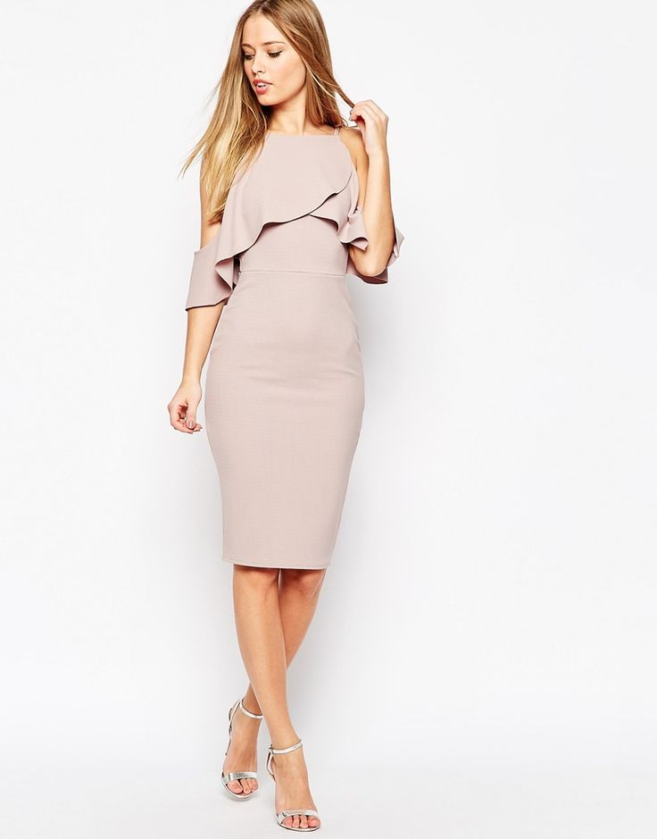 Image 1 ofASOS Textured Cold Shoulder Ruffle Midi Dress
