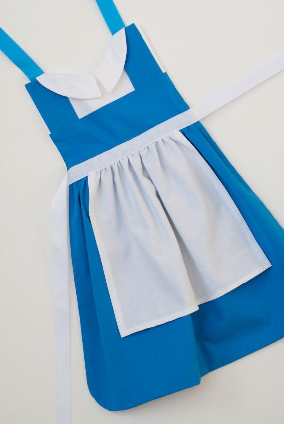 Beauty and the Beast princess Belle blue dress up apron for toddlers and little girls