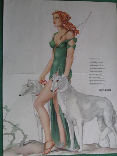 March 1941 Varga Girl Esquire Gatefold Pinup Art Deco Diana w/ Borzoi Dogs MINT #ArtDeco