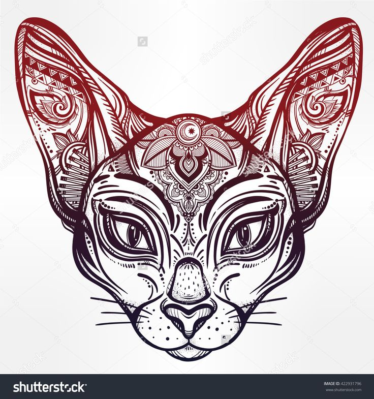 Vintage Ornate Cat Head With Tribal Ornaments. Ideal Ethnic Background, Tattoo Art, Egyptian, Thai, Spirituality, Boho Design. Perfect For Print, Posters, T-Shirts And Textiles. Vector Illustration. - 422931796 : Shutterstock