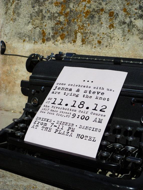 Typewriter Vintage Wedding Invitation  DIY by CoutureDetailsDesign, $28.00