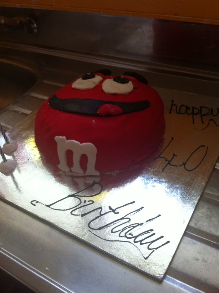M&M birthday cake made for a 40th