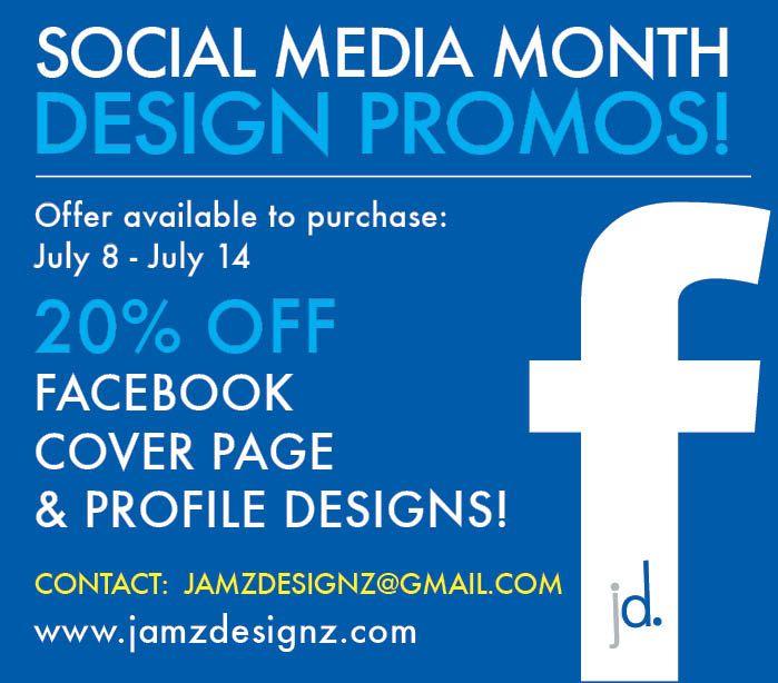 Jamz Designz graphic design promotions for July. #socialmedia #graphicdesign #design #creative #promotion #facebook www.jamzdesignz.com