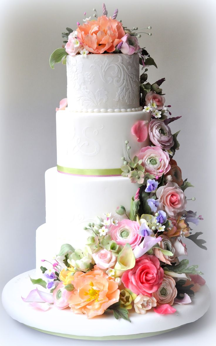 www.cakecoachonline.com – sharing...Classic White Wedding Cake with Pastel Flowers