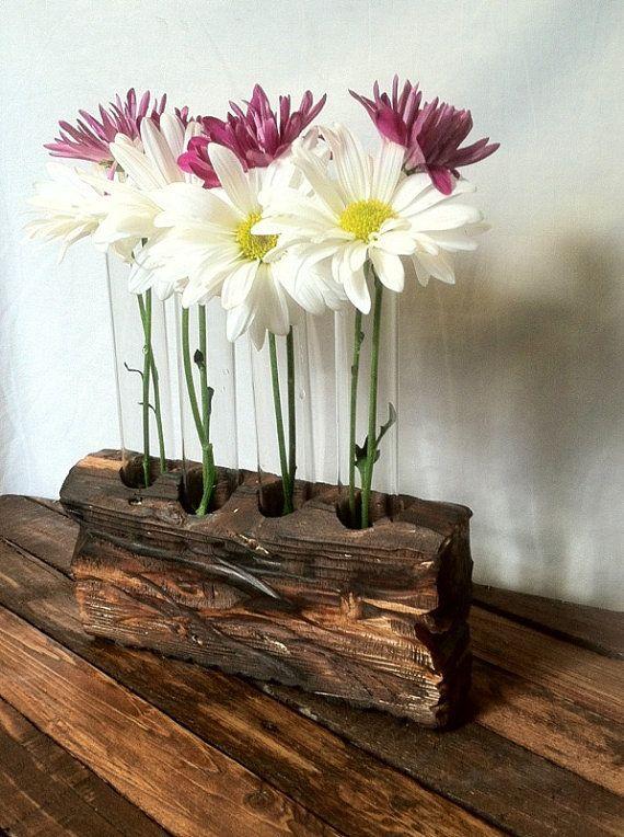 Test Tube Vase Flower Vase Rustic Wood Test Tube by AnSquared