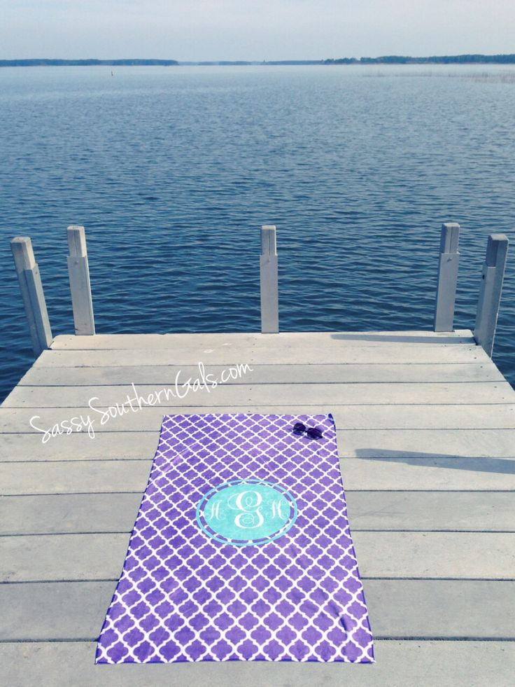 Monogrammed Beach Towel on www.SassySouthernGals.com - Monogrammed Gifts & Accessories