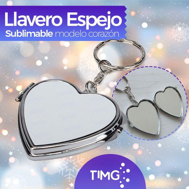 ¡Aprovecha las preventas de TIMG! Llavero de corazón de metal y espejo sublimable. Disponible la tercera semana de diciembre. Resérvalos y aprovecha un 4% de descuento con las #PreventasTIMG.