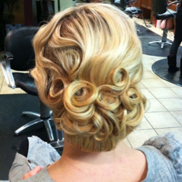 . Finger-waves and pin curls with a Low wide bun. Vintage Hairstyles